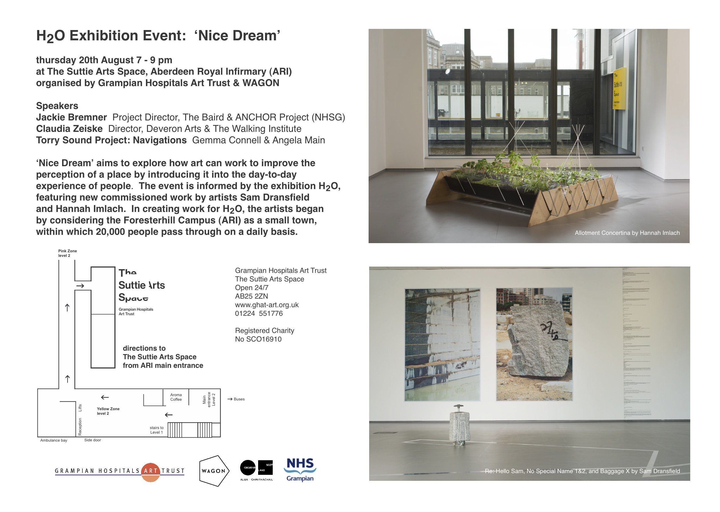 H2O Exhibition Event: 'Nice Dream' Thursday 20th August 7-9pm at The Suttie Arts Space